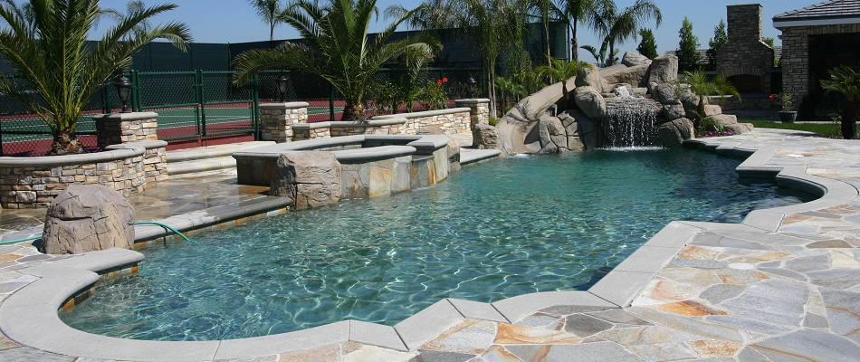 Concrete coping, free formed shape inground gunite pool built in Los Angeles